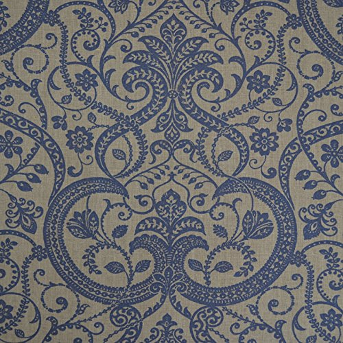 100% Linen Fabric - A Classical Floral Printed Pattern in Traditional Damask Style - Vintage Indigo Blue on a Natural Linen Cloth - French Designer Fabric 59 Inches Wide ~ Sold By the Yard