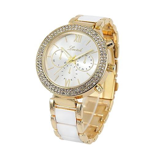 6c12e7ffaf52 Elegante reloj de pulsera para mujer en oro blanco con correa de metal