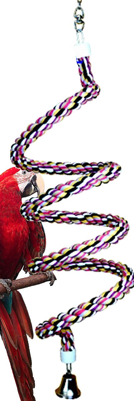 Bonka Bird Toys 1022 Huge Rope Boing Coil Swing Bird Toy Parrot cage pet Stand Perch Macaw Cockatoo Amazon African Grey Play chew Aviary Bungee Accessories Colored Playground by Bonka Bird Toys