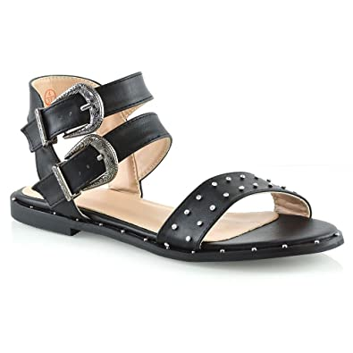 06aafbe2571a ESSEX GLAM Womens Double Strap Ankle Strap Studded Sandals Ladies Holiday  Summer Flat Shoes Black