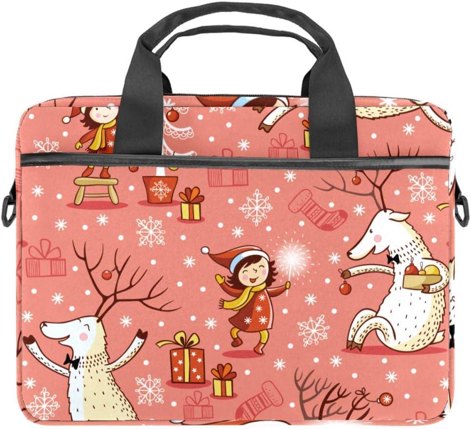 Laptop Bag Satchel Tablet Sleeve Business Shoulder Bag Document Handbag Messenger Bag Briefcase 15x5.4 Inch Girl and Deer Christmas