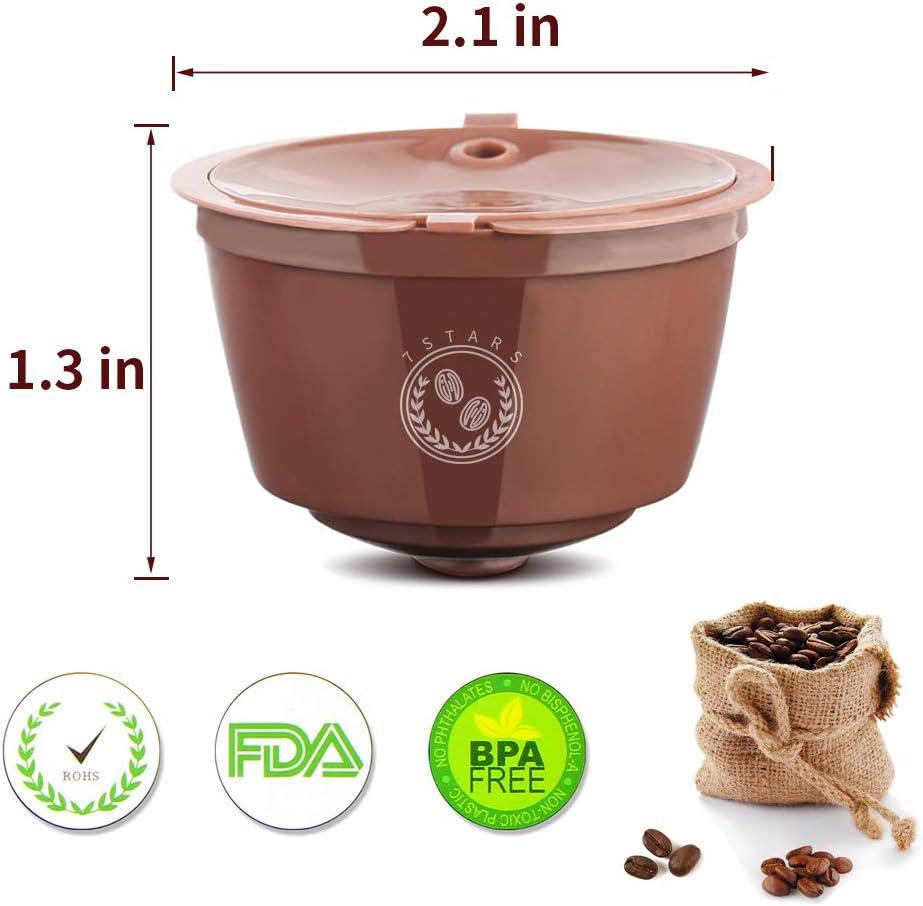4pcs con 1 Cuchar/ón de Pl/ástico C/ápsulas Filtros para Cafetera Dolce Gusto Recargables m/ás de 300 usos para Reemplazo Star Letilio Filtros C/ápsulas de Caf/é Reutilizable 1 Cepillo de Limpieza
