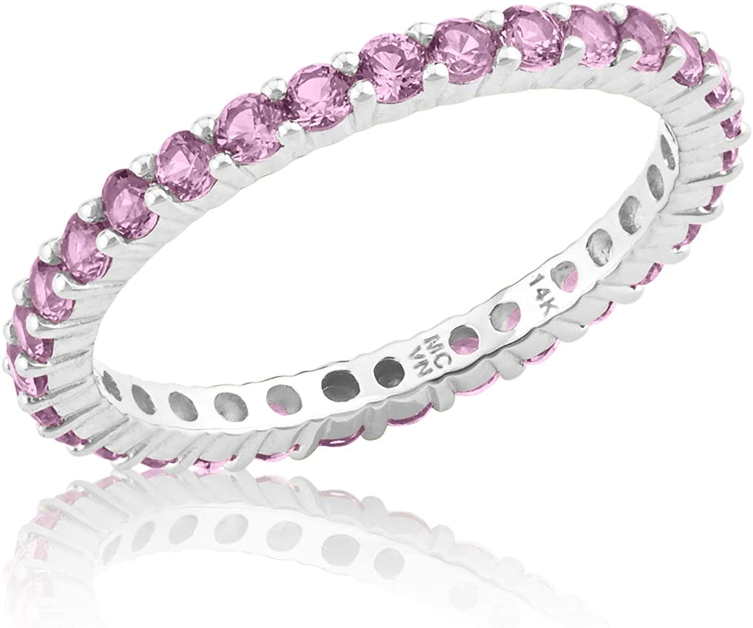 14K Solid Yellow or White Gold Created Pink Sapphire Eternity Ring (2mm)