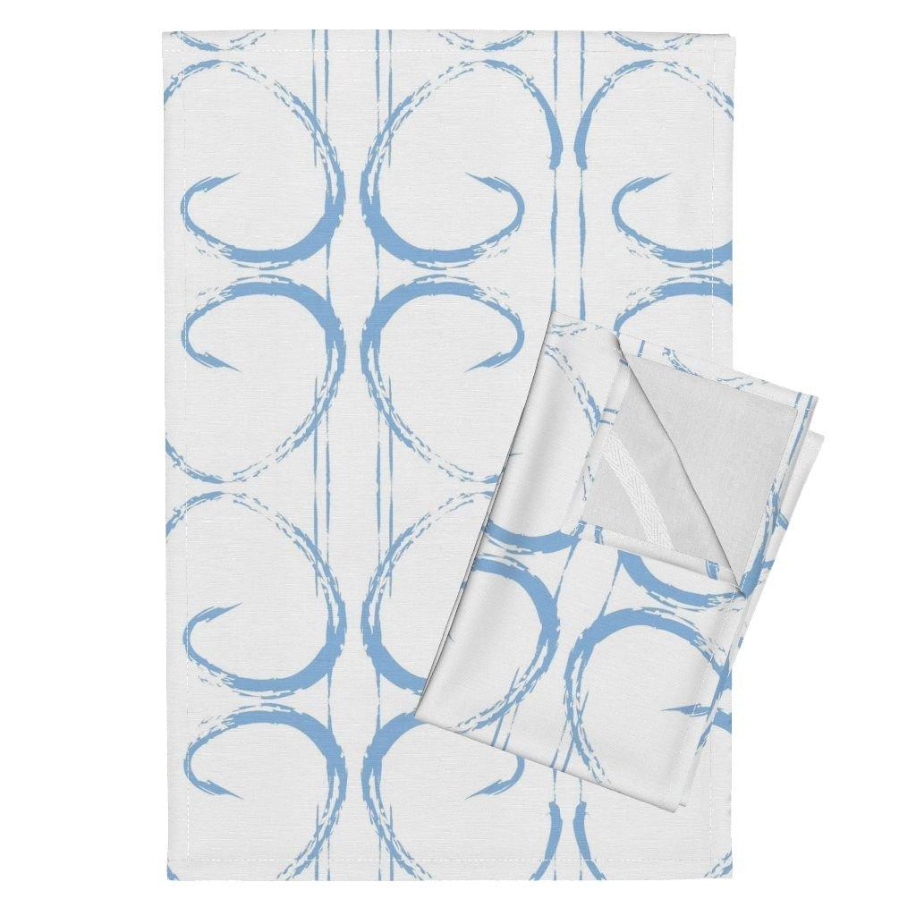 Baby Boy Blue Geometric Boys Nursery Fabric Spa Tea Towels Carolina Blue Paint Stroke by Jenlats Set of 2 Linen Cotton Tea Towels