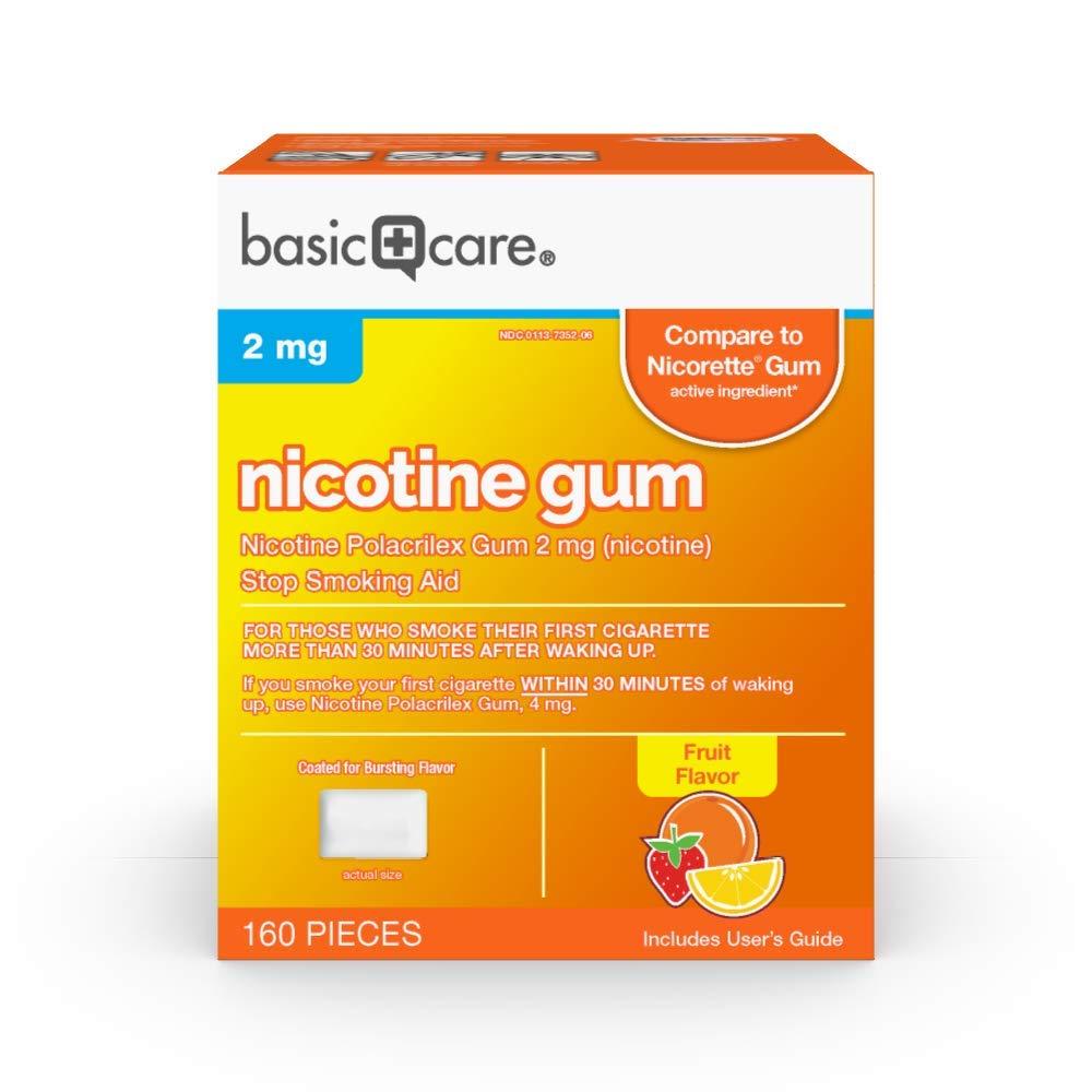 Amazon Basic Care Nicotine Polacrilex Coated Gum 2 mg (nicotine), Fruit Flavor, Stop Smoking Aid; quit smoking with nicotine gum, 160 Count
