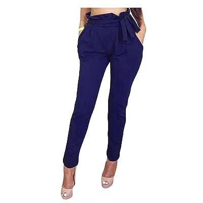Legou Femme Pantalon de Loisir Taille avec Lastex Bleu Marine M