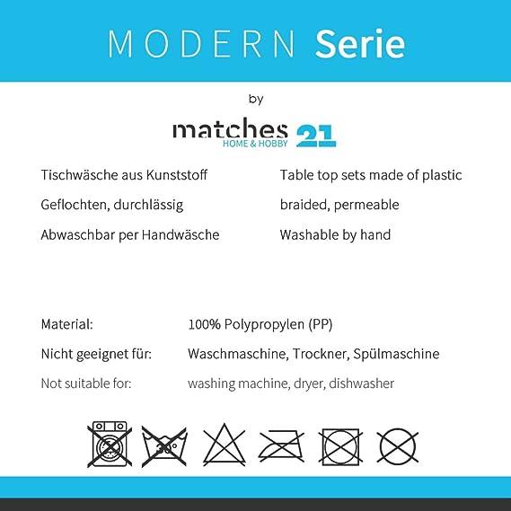 matches21 Set de table Set Modern Lot de 4/sets tress/é en plastique 45/x 30/cm//lavables//disponible dans de nombreuses couleurs rose bonbon