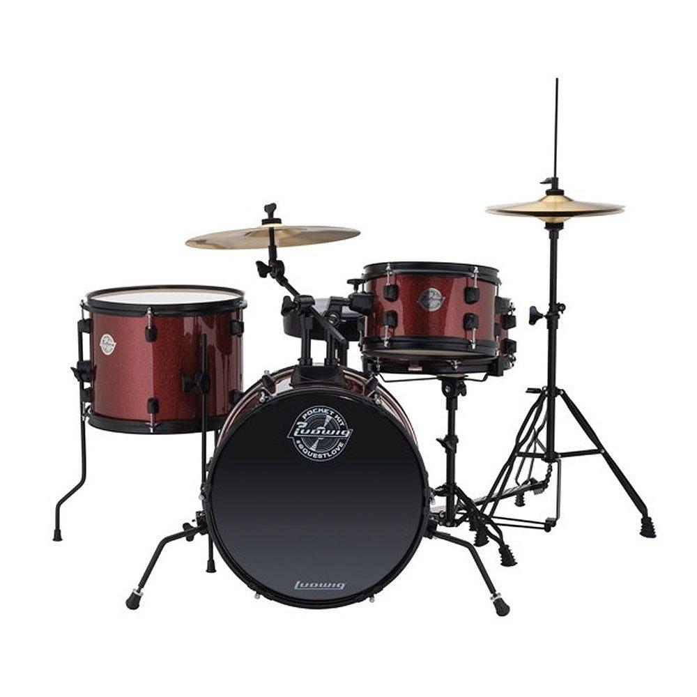 Ludwig LC178X025 Questlove Pocket Kit 4 Piece Drum Set Red Wine Sparkle Finish