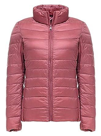 3b3b35806415 GEEK LIGHTING Women s Packable Down Jacket Ultralight Water Repellent Stand  Collar Puffer Coat (Pink