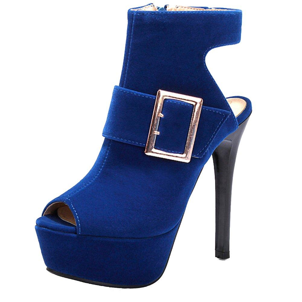 TAOFFEN Damen Sandalen Peep Toe Stiletto Sandaletten Sommer  36 EU Blue-8