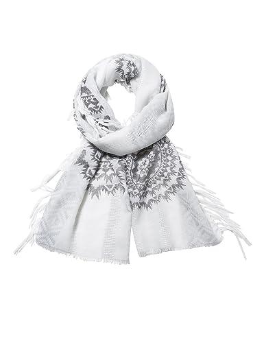 Desigual FOULARD_RECTANGLE White Silve, Bufanda para Mujer, Blanco (Blanco 1000), Talla única (Talla del fabricante: One size)