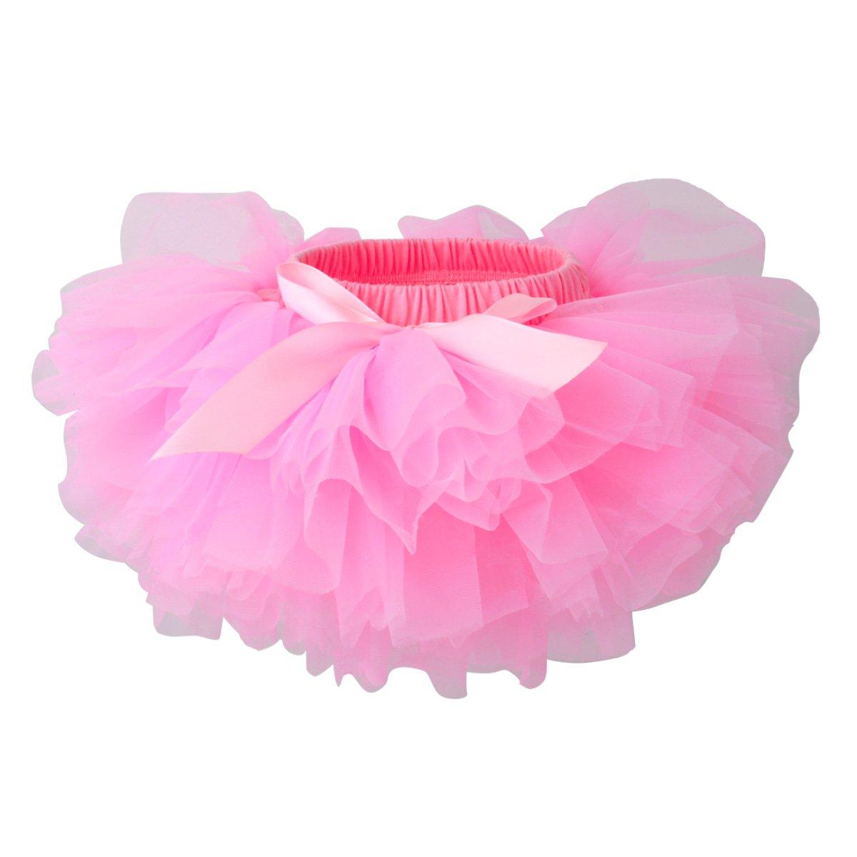 Slowera Baby Girls Soft Tutu Skirt (Skorts) 0 to 36 Months (M: 6-12 Months, Pink) by Slowera