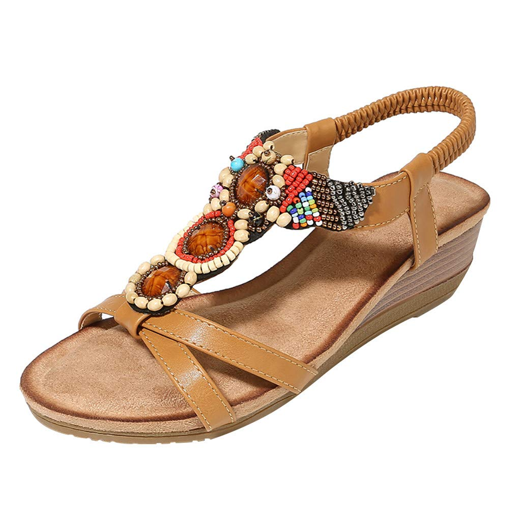 〓COOlCCI〓Women T-Strap Beaded Flower Gladiator Flat Dress Sandals Beach Shoes Brown