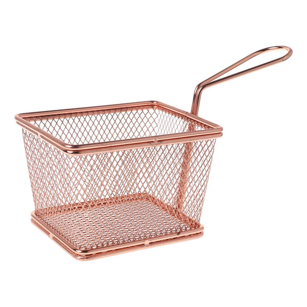 qingqingR Herramientas de Cocina de Acero Inoxidable Snack Basket Rejilla Cocinar Papas Fritas Snacks Tamiz Fugas Neto Cesta Frita Gran Malla Fina 1 Unid