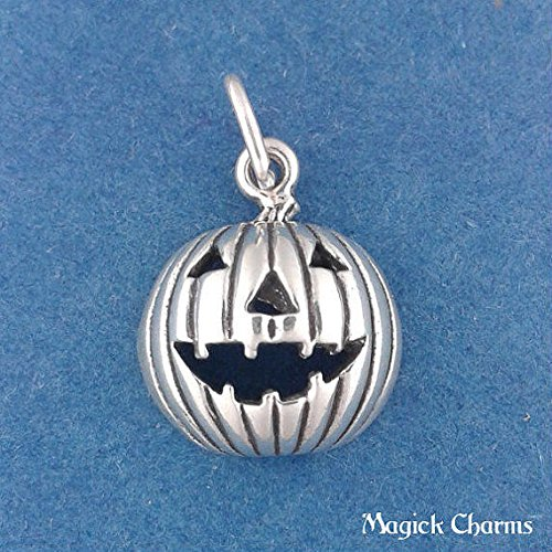 925 Sterling Silver Jack O Lantern Pumpkin Halloween Charm Pendant Jewelry Making Supply, Pendant, Charms, Bracelet, DIY Crafting by Wholesale Charms -