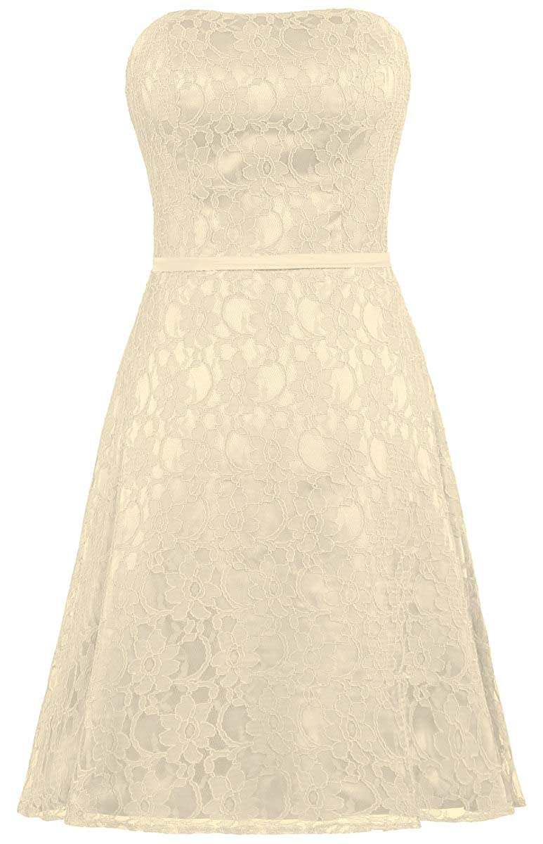 Champagne ANTS Women's Strapless Lace Bridesmaid Dresses Short Party Gown