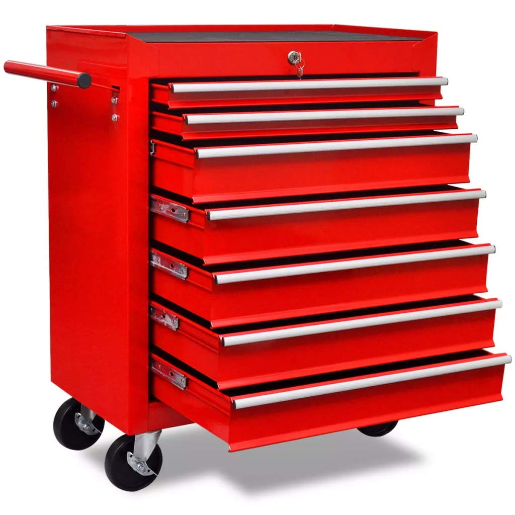SOULONG Rouge Chariot /à outils de lAtelier avec 7 Tiroirs avec freins Tiroirs Peuvent /être Verrouill/és en M/ême Temps ce qui les Emp/êche de souvrir Accidentellement lors du D/éplacement du Chariot