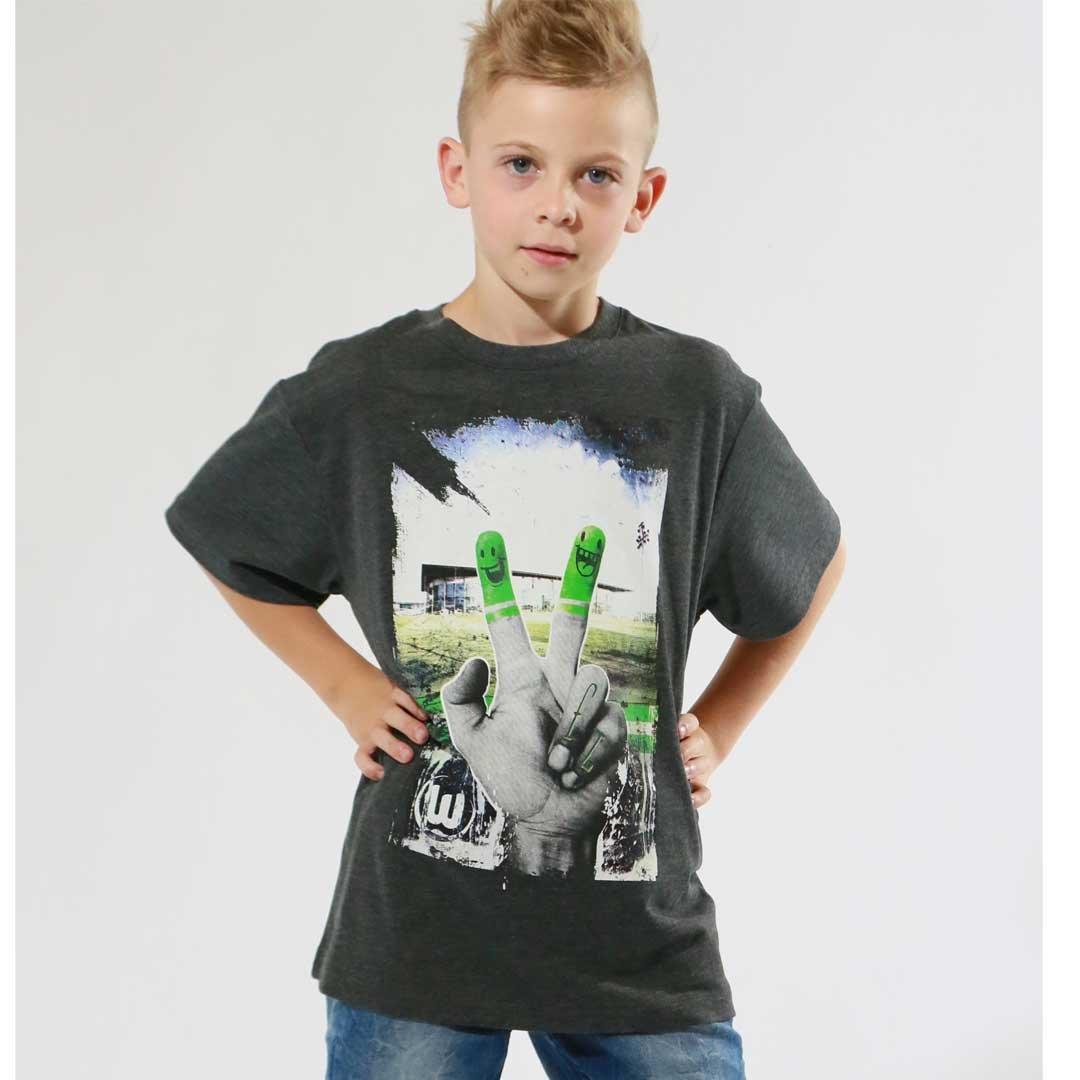 VfL Wolfsburg Kinder T-Shirt Halbzeit 45 The Original Applikation und Druck auf der Vorderseite Gr/ö/ße 116-164