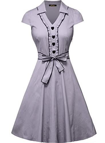 IHOT Women's 1950s Cap Sleeve Swing Vintage Party Dresses Multi Colored