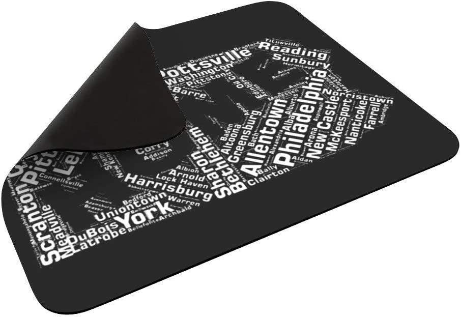 State of Pennsylvania Cities Mouse Pad Non-Slip Rubber Mouse pad Personalized Rectangle Mouse Pad
