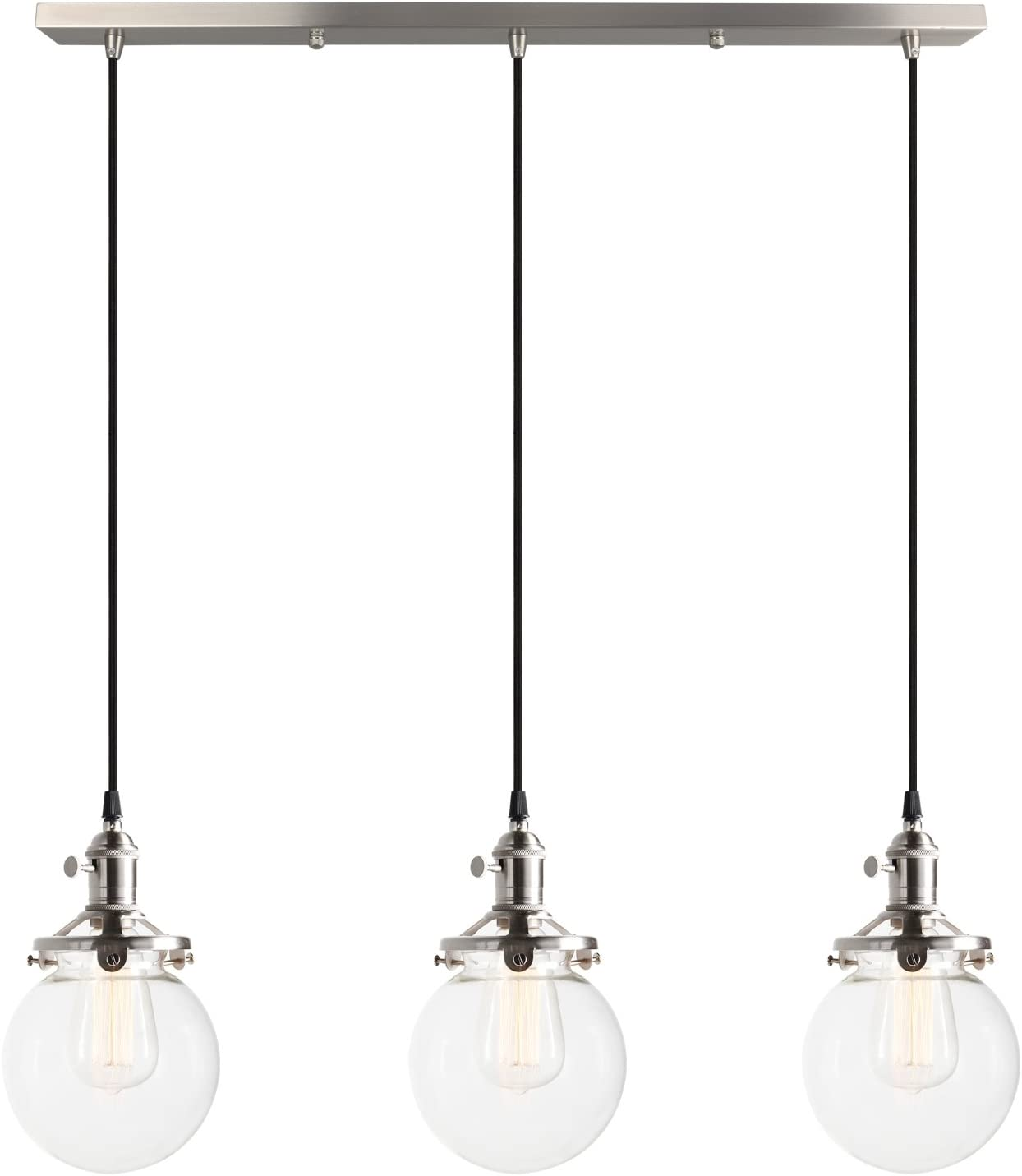 Pathson Industrial Vintage Modern Loft Bar Pendant Light Fittings Cluster Chandelier Edison Hanging Ceiling Lamp Light Fixture 3 Lights With Globe Glass Light Shade E27 Brushed Amazon Co Uk Kitchen Home