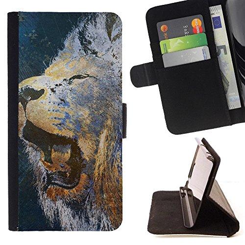 God Garden - FOR Apple Iphone 6 - Lion Roar Bigcat - Glitter Teal Purple Sparkling Watercolor Personalized Design Custom Style PU Leather Case Wallet Fli