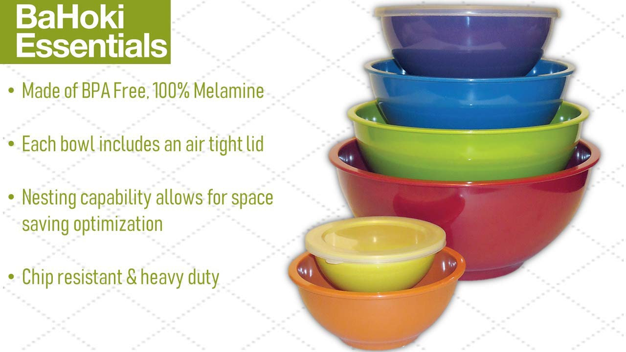 BaHoki Essentials 6 Sets of Nesting Mixing Melamine Bowls with Air Tight Lids, BPA Free, Stackable