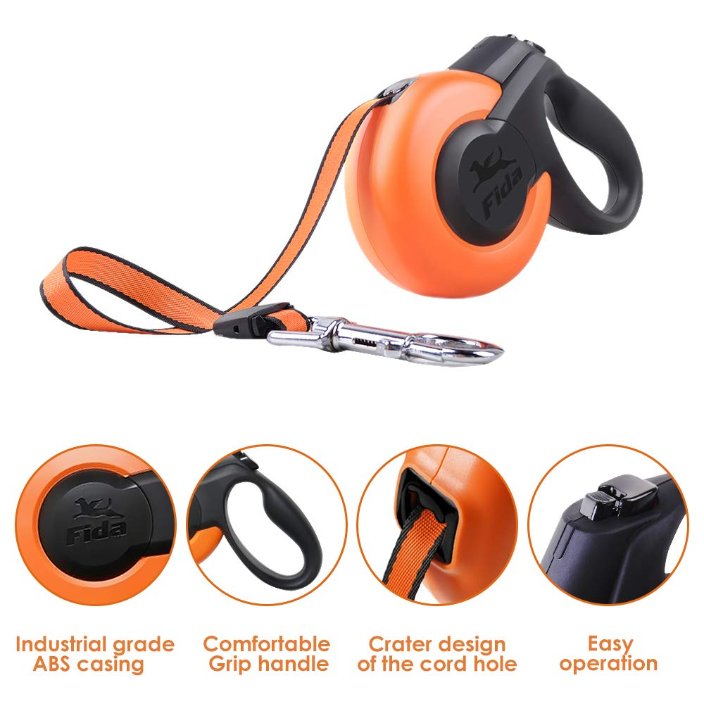 SlowTon Retractable Dog Leash, 16ft Dog Walking Training Leash Pet Ribbon Lead One Button Brake Pause Quick Lock Ergonomic Anti-Slip Handle Tangle Free Tape for Small Medium Dogs up to 55lbs by SlowTon