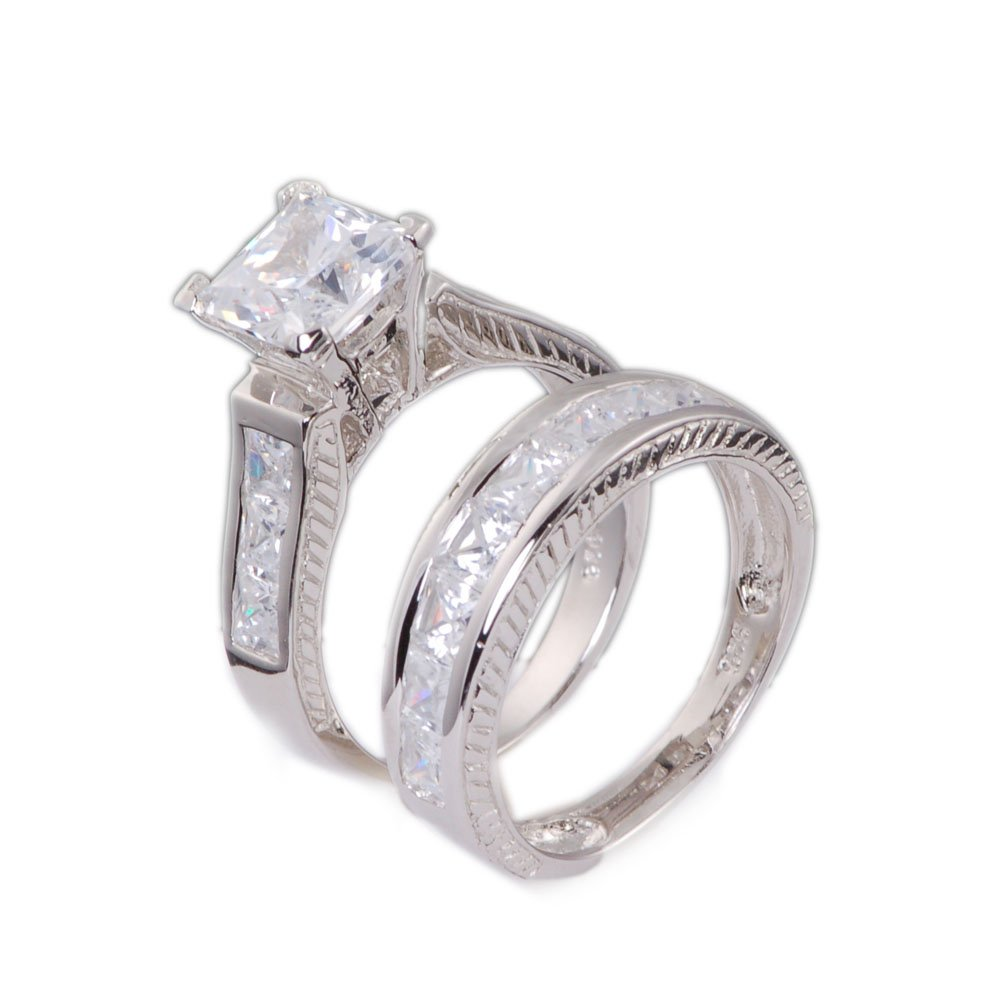 4.0ct Cubic Zirconia Cz Princess Cut Engagement Wedding Bridal Ring Set 925 Sterling Silver Size 5-10 (8)