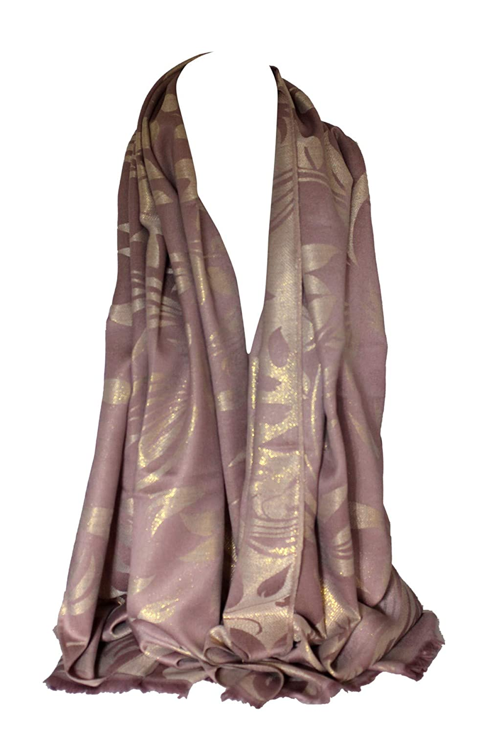 Two Sided Reversible Shimmer Foil Print Spring Floral Scarf Shawl Wrap Stole