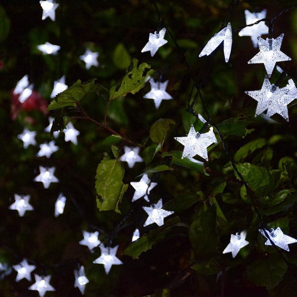 8 modalit/à di illuminazione decorativa per giardino casa Stringa di luci solari da giardino 50 luci a LED a forma di stella impermeabile patio festa di nozze Multicolore cortile