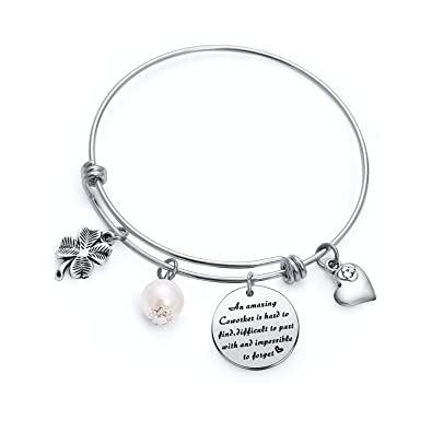 TzrNhm Blossom An Amazing Coworker Is Hard To Find Difficult Part With And Impossible Forget Bangle Keychain Gfts For CoworkersBusiness PartnerBoss
