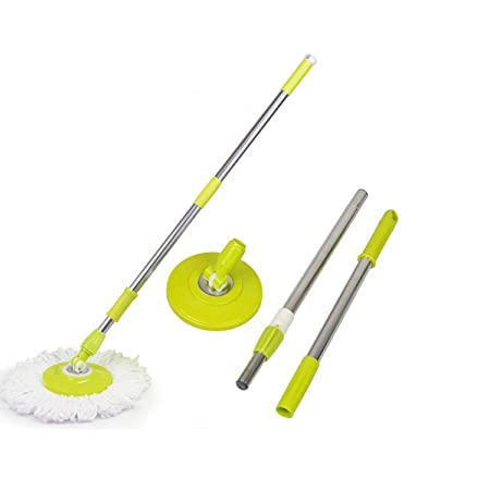 BDMP Mop Rod Stick Stainless Steel with Plate and Microfiber Mop Stick & 1 Mop Head Mop 360� Rotate S.S Rod Pocha
