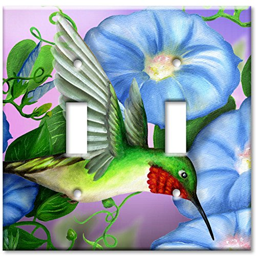 - Art Plates - Double Gang Toggle OVERSIZE Switch Plate/OVER SIZE Wall Plate - Hummingbird & Flowers