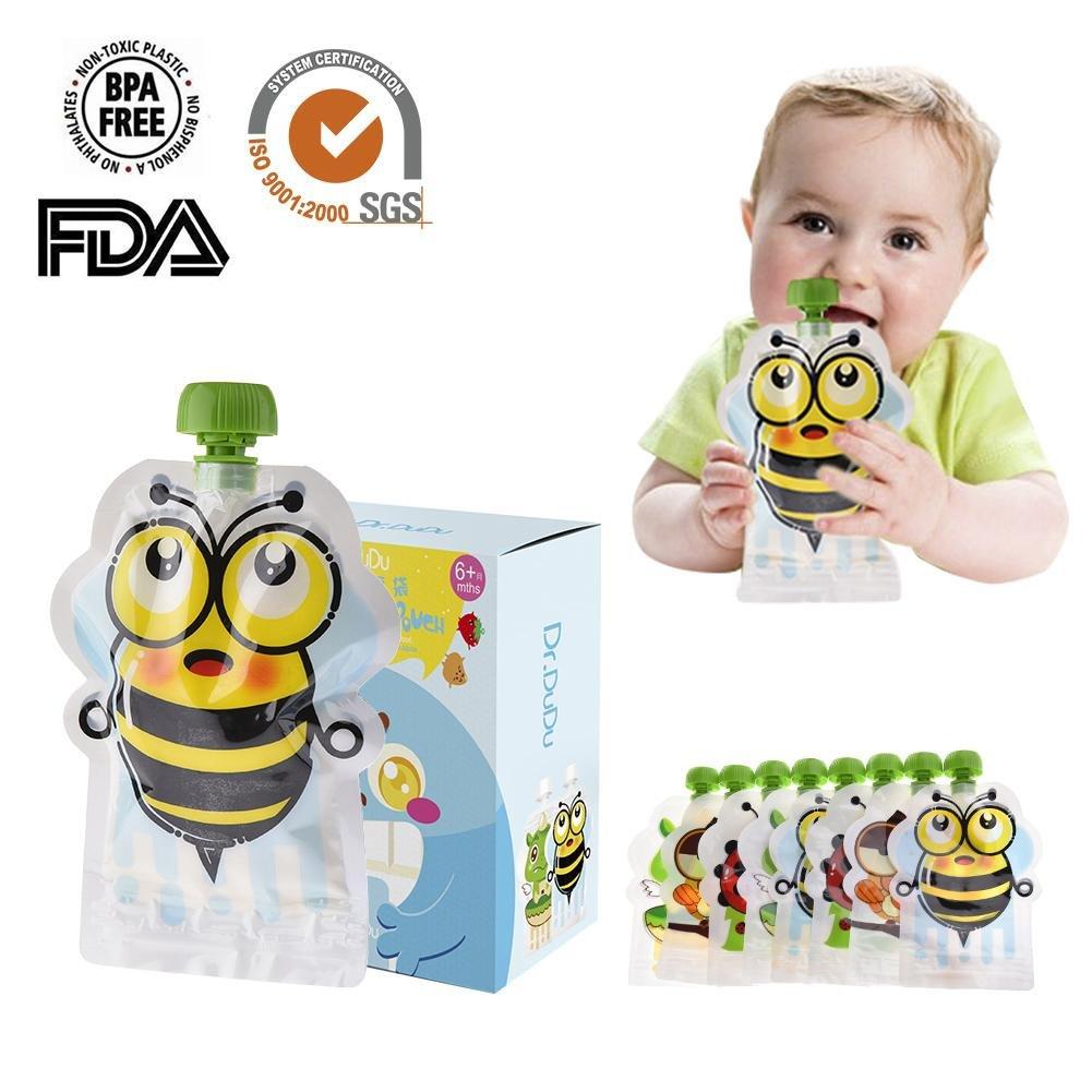 Enjoyyouselves 8 pz Sacchetto di conservazione degli alimenti sigillato 150 ml riutilizzabile doppia cerniera per alimenti per bambini Borsa per animali Modello Sacchetti per alimenti per bambini
