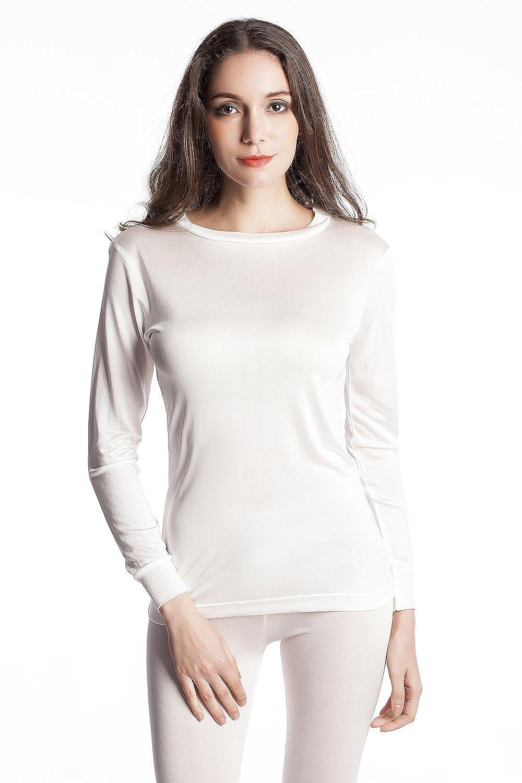 Jasmine Silk Ladies' Pure Silk Round Neck Thermal Top Vest Ivory