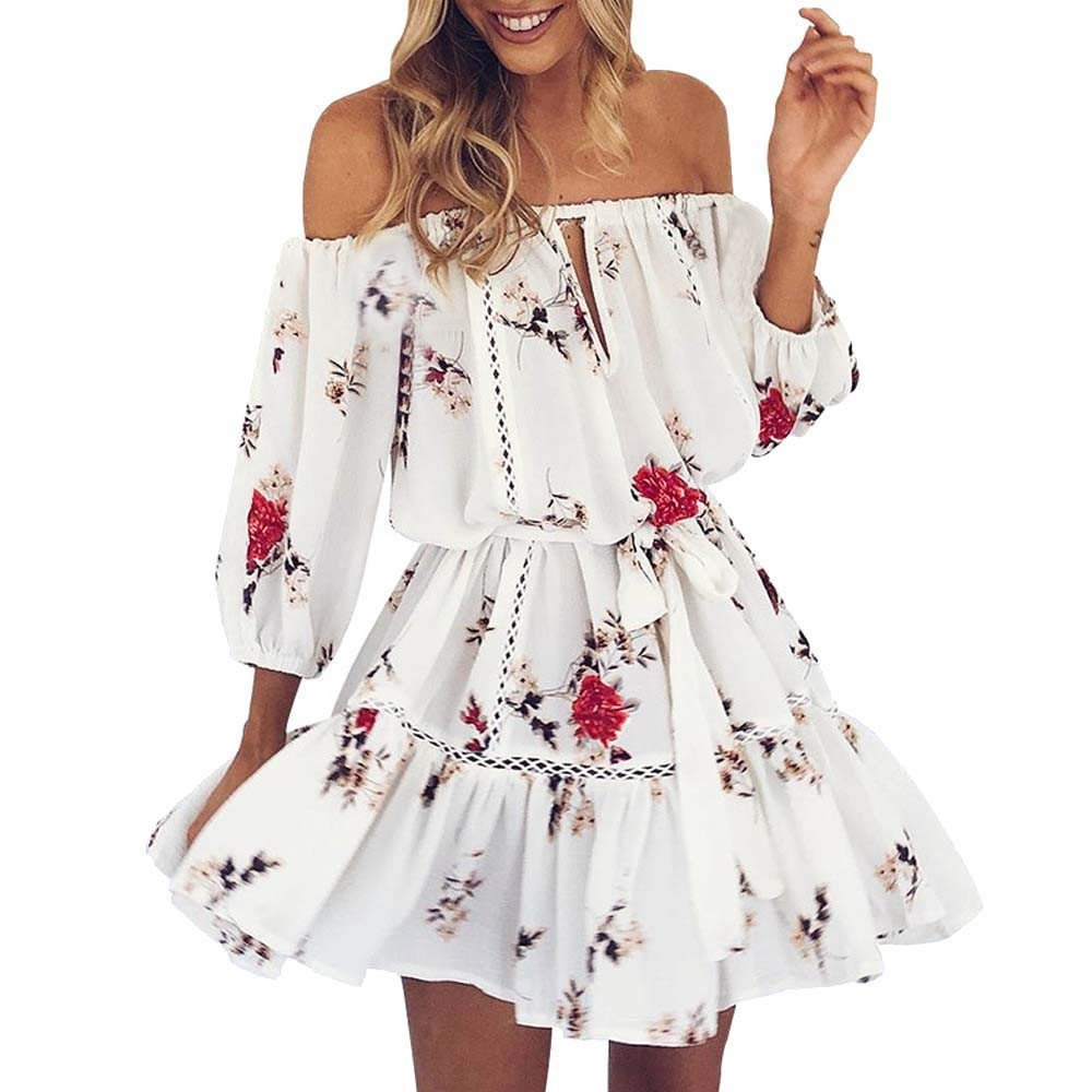 Hunzed Women【Off Shoulder Tunic Dress】Clearance Womens Ruffles Sleeve Floral Tunic Casual Party Shift Short Skirt