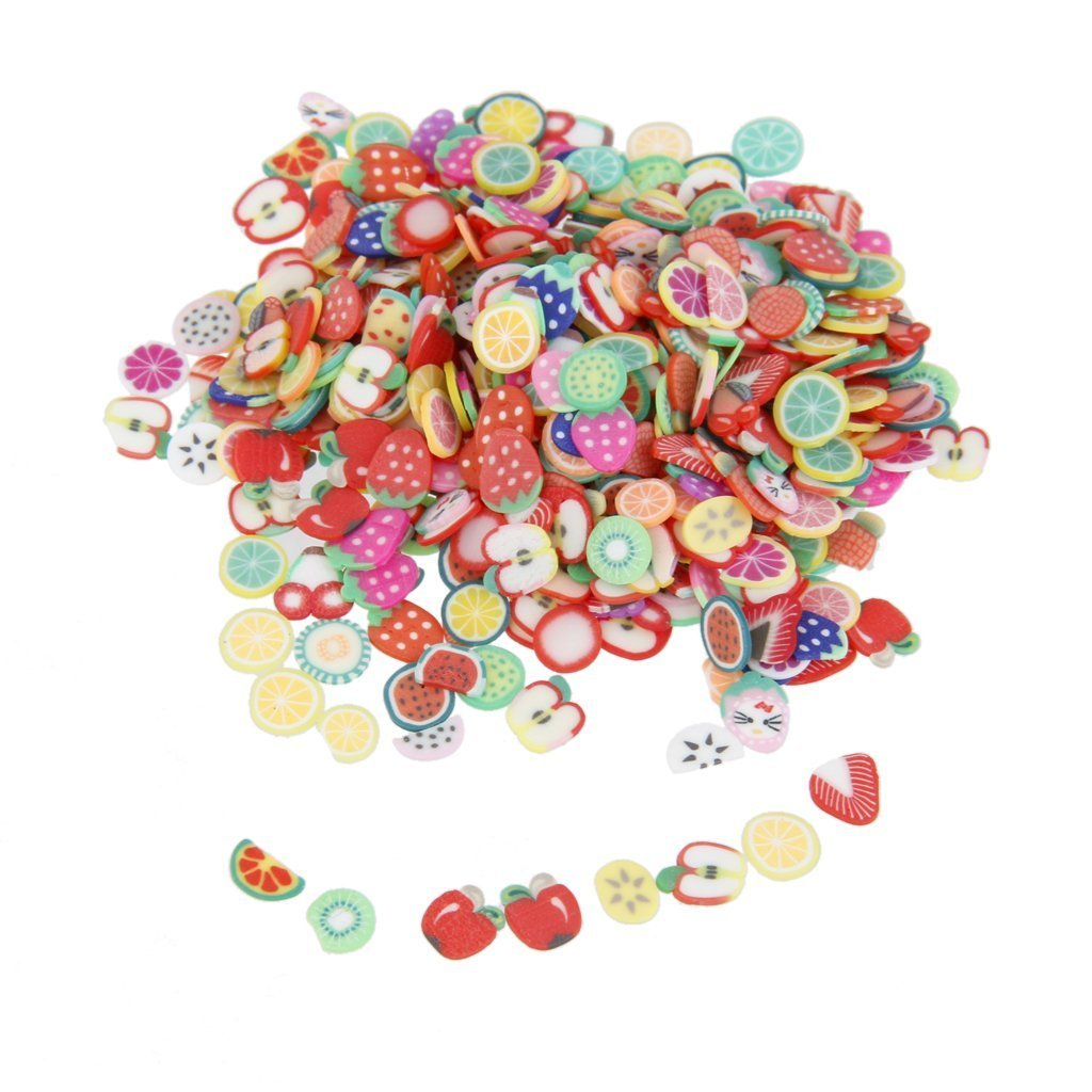 Nicedeal Nailart Tools 144pcs 3D FIMO Slice Fresh Fruit Face Decoration Make-up Tools and Brushes for Beauty