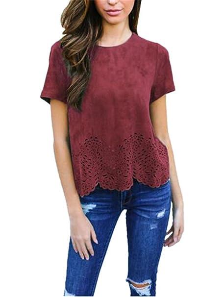 AILIENT Fashion Camiseta Manga Corta Nueva Mujeres Cuello Redondo T-Shirt Casual Remeras Color Solido