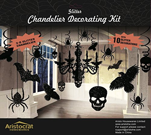 Premium Halloween Haunted House Chandelier Decoration Swirl to Hang from Ceiling Set ()