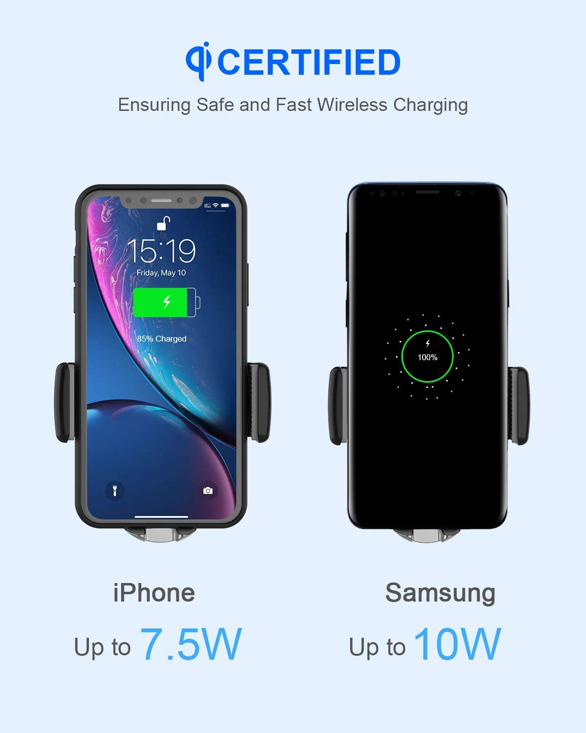 NANAMI Wireless Car Charger,7.5W//10W Fast Charging Car Mount,Air Vent Auto-Clamping Phone Holder,Compatible with iPhone SE//11//11 Pro//XS Max//XS//XR//X//8 Plus//Samsung S10//S10 //S9//S8//S7//Note 10//9//8