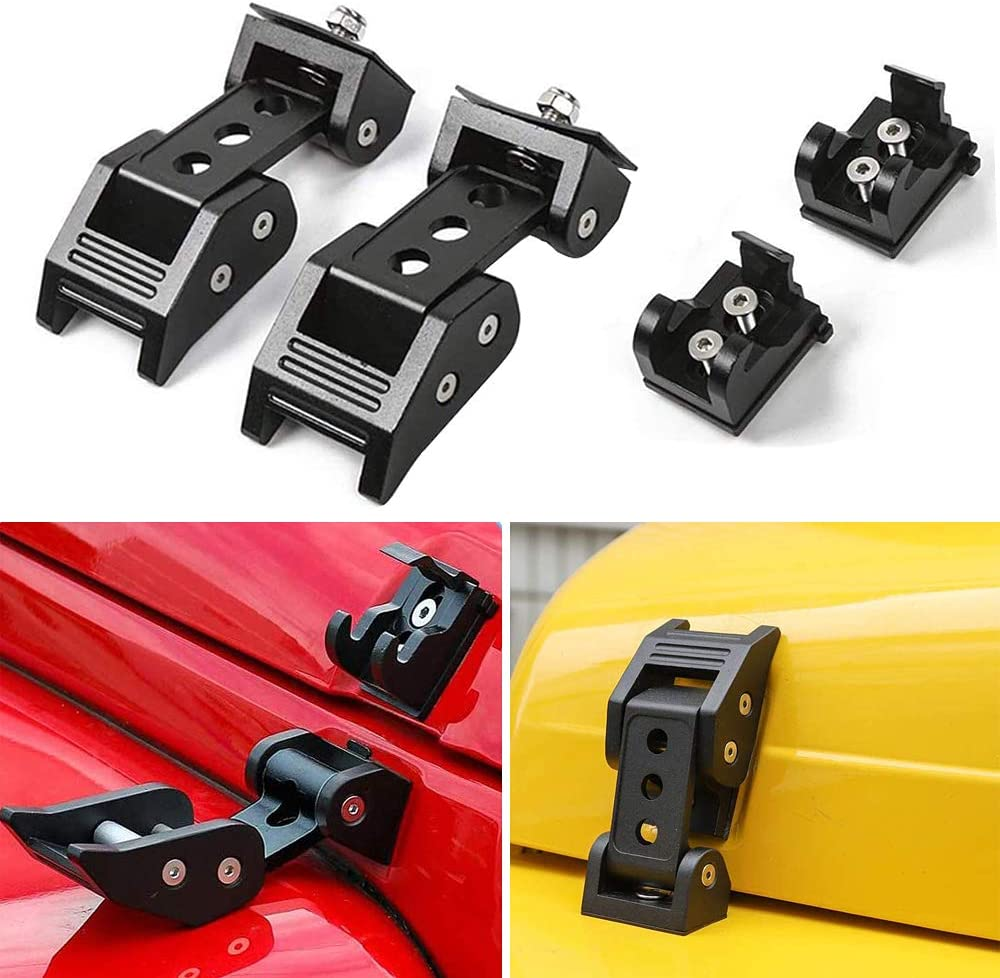 Jeep Hood Catch Kit 2PCS DOXMALL Black Aluminum Hood Latch Kit for 2007-2018 Jeep Herdsman JK