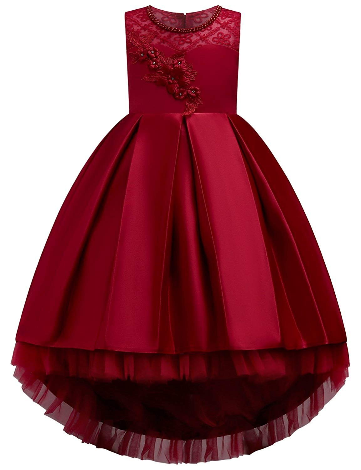Bridesmaid Dresses for Teen Girl Wedding Party Holiday Graduation Princess Children Birthday Gift Girl Dresses Size 12 Casual Formal A Line Big Girl Dresses Age of 10 Tutu Dress (Red 140)