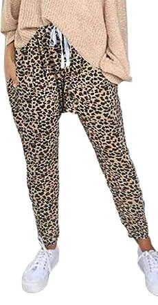 8c0393c8ad826 pipigo Womens Comfy Harem Jogger Pants Loose Leopard Print Drawstring Yoga  Legging Pants 1 S