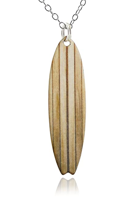 Grano de madera Tabla de surf colgante collar, latón pintado cadena de plata de ley