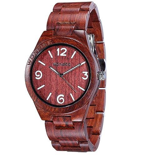 Reloj de Madera Wonbee para Hombres y Mujeres Artesanía Hecha a Mano Relojes de Madera Banda de Madera del Reloj Bisel de Madera Reloj de Pulsera de Sándalo Rojo Serie ARABTOON