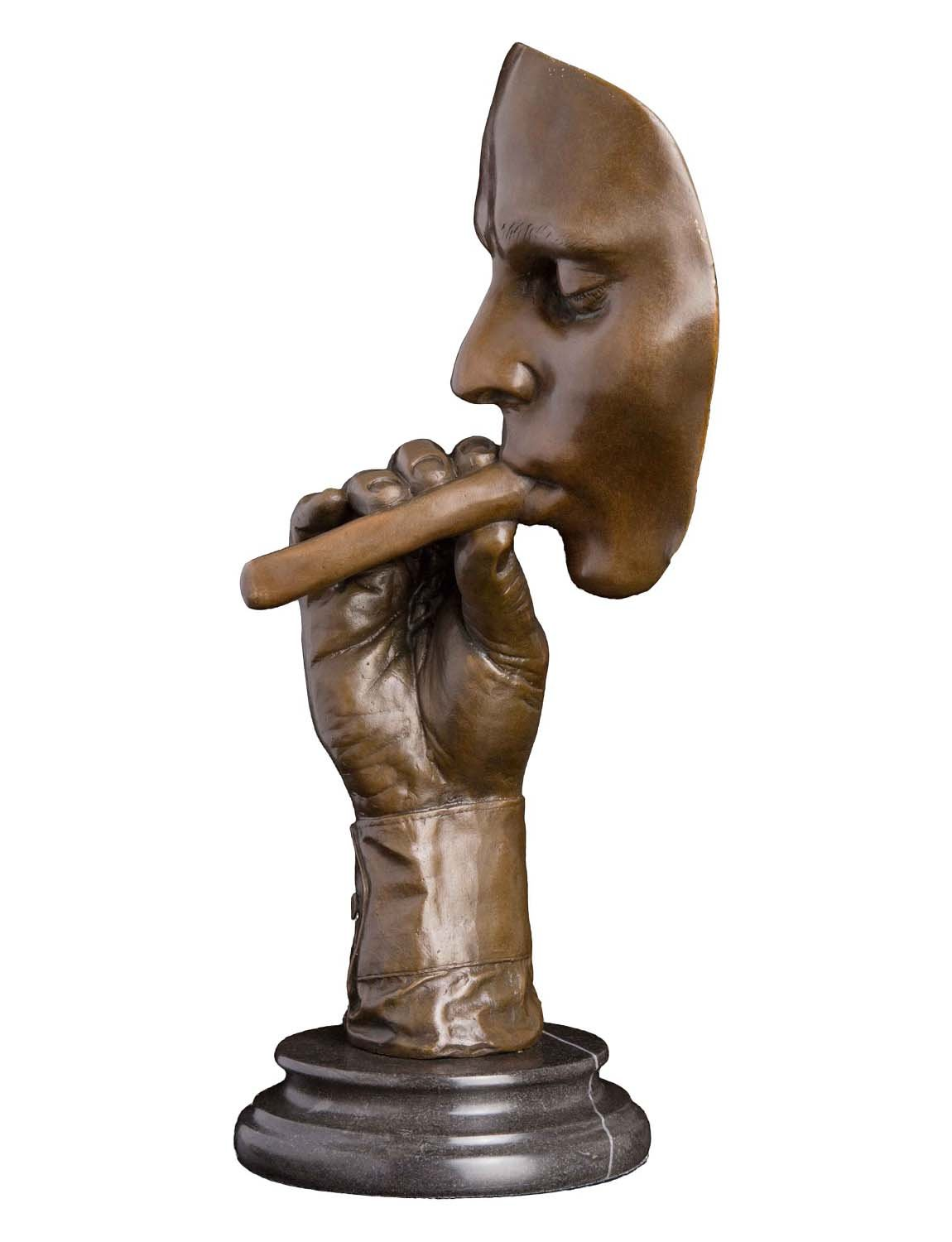 Artylife Lost Wax European Bronze Sculpture Smoking Man Cigar Marble Base Figurine by Dali Bronze Statue Home Decor Collectible Gift by Artylife (Image #2)