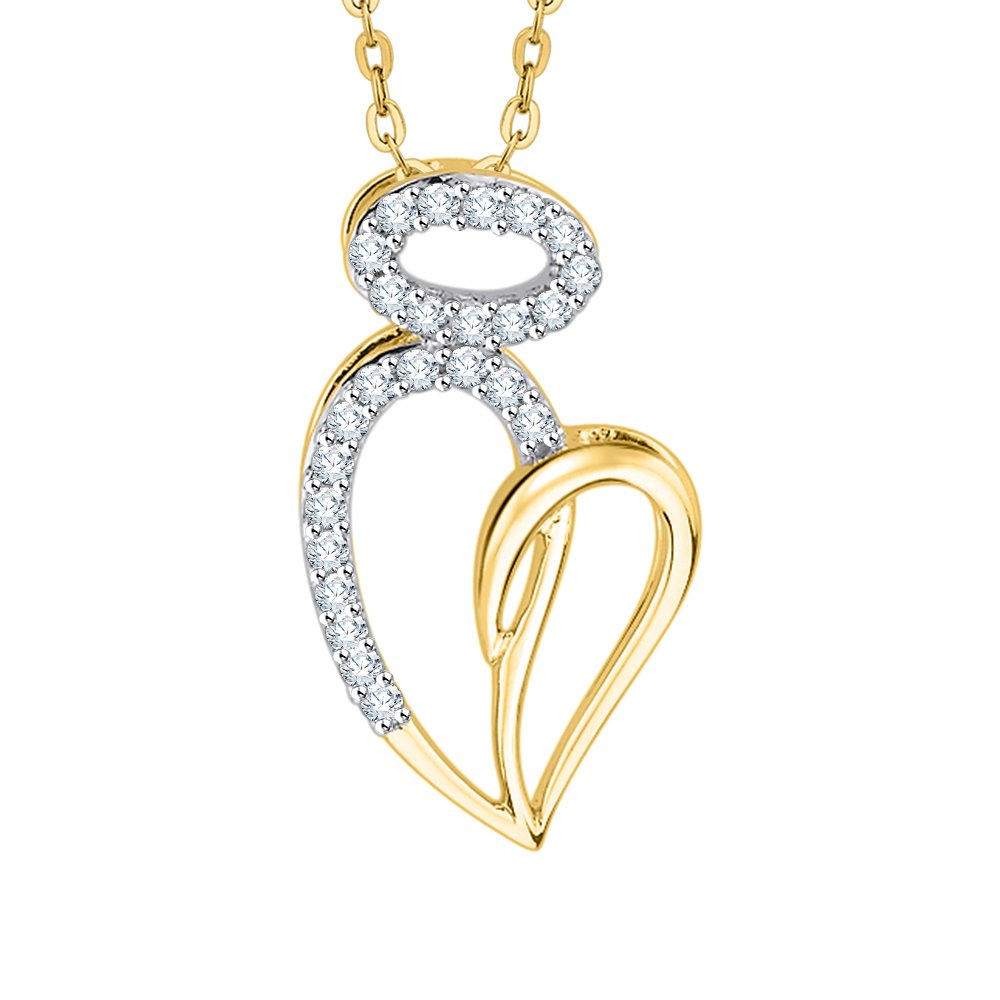 1//6 cttw, G-H, I2-I3 KATARINA Prong Set Diamond Heart Pendant Necklace in Gold or Silver