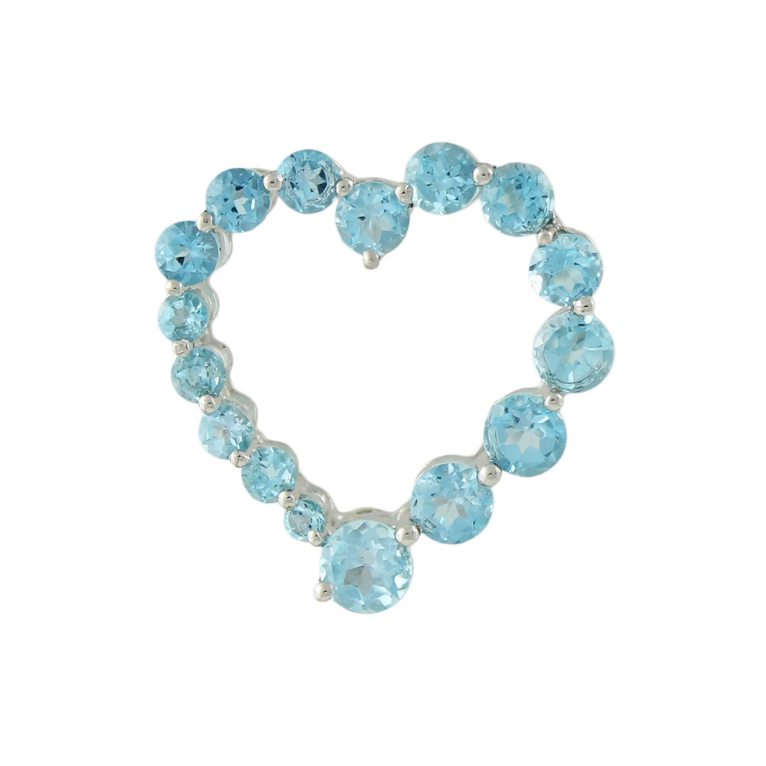 Pinctore Sterling Silver 3.09ctw Swiss Blue Topaz Heart Pendant 0.93L with 18 Chain