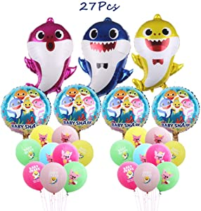 Borang Baby Shark Balloons 27 Pack Shark Balloons for Kids Birthday Party Favor Supplies Decoration Perfect for Your Baby Shark Theme Party